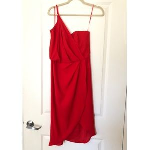 Cherry red, one shoulder dress